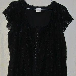 Tops - Plus size Black corset lace top   26/28